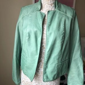 Chico's Faux Leather Moro Jacket in Seafoam Green